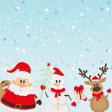 Santa Claus, reindeer, snowman background