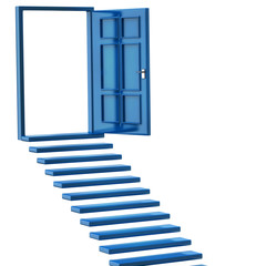 Blue stairs and open doors