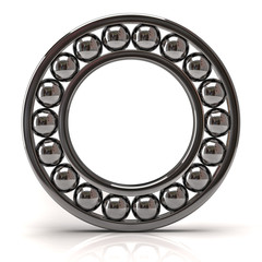Silver ball bearing on white background