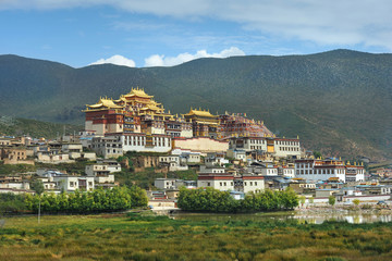 Tibetan monastery in China during sunset