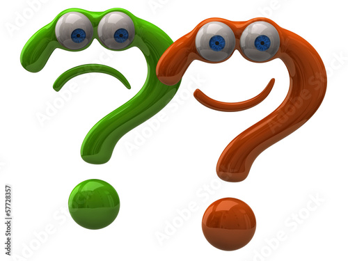 Illustration of happy and sad question mark