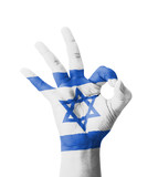 Hand making Ok sign, Israel flag painted