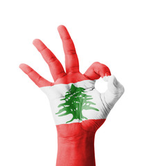 Hand making Ok sign, Lebanon flag painted