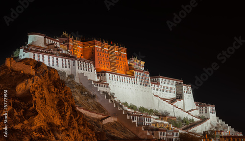 Potala palace in Tibet at night