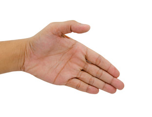 man hand stretching for handshake isolated on white background