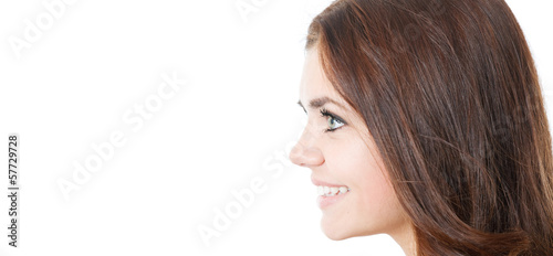 profile of smiling young female isolated