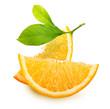 Orange fruit slices isolated on white background.