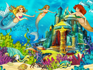 The ocean and the mermaids - illustration