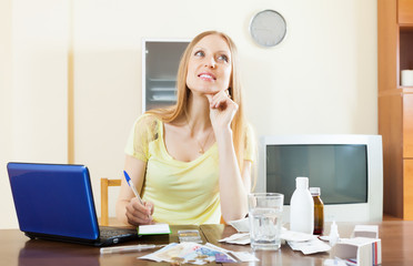 Positive woman counting the cost of treatment