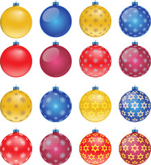 Set of colorful Christmas balls, illustration