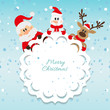 Santa Claus, snowman and reindeer blue background