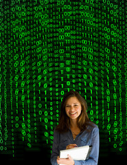 Nerd computer businesswoman on matrix binary background