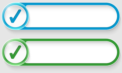 blue and green vector abstract buttons with check box