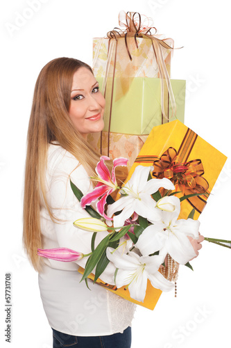 overweight positive woman flower presents