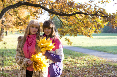 Two beautiful girls  in autumn park