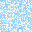 Abstract geometric filigree seamless pattern in blue and white