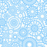 Abstract geometric filigree seamless pattern in blue and white poster