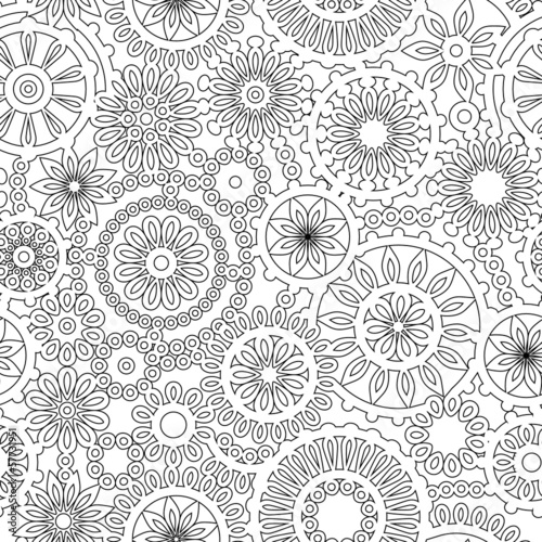 Abstract geometric filigree seamless pattern, black and white