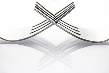 Kitchen forks in an abstract design.