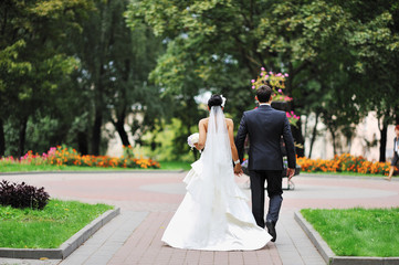 Bride and groom away