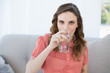Gorgeous pregnant woman drinking glass of water sitting in livin