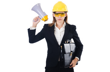 Woman with helmet and loudspeaker on white
