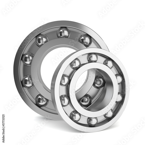 Two steel bearings