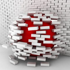 Red ball moving through brick wall
