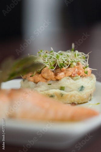 Close up of salmon dish with cress