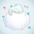 Cute elephant, sleeping on the cloud.