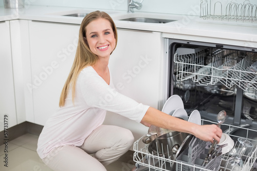 Cheerful gorgeous model kneeling next to dish washer