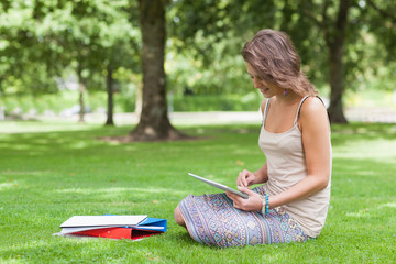 Student with tablet PC and books at the park
