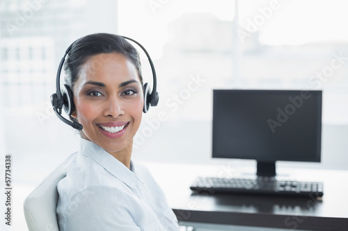 Content smiling agent wearing a headset