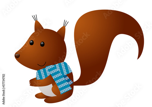 Cute squirrel wearing knitted scarf
