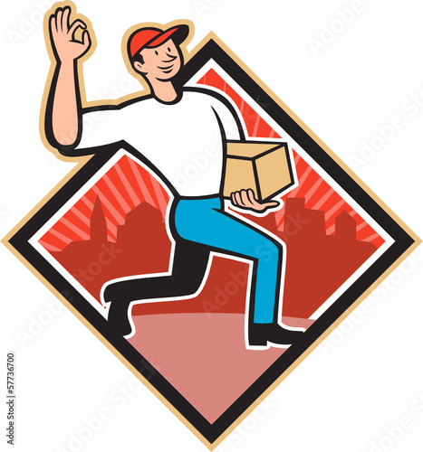 Delivery Worker Deliver Package Cartoon
