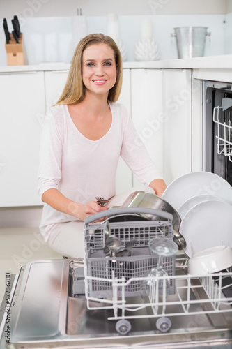 Cheerful gorgeous model kneeling behind dish washer
