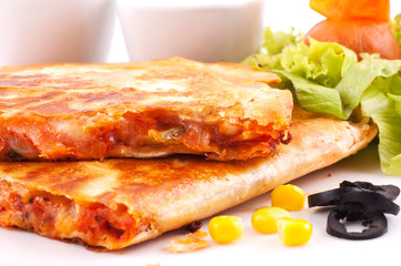 Quesadillas with sauces