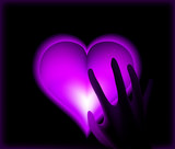 Hand in heat from purple heart cold. Vector