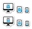 Shopping online, internet shop icons set