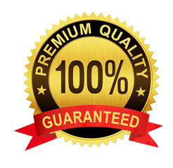 premium quality guaranteed gold seal medal with red ribbon isola