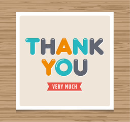 Thank you card, balloons type font vector design