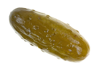 A large dill pickle on a white background