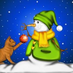 gattino con pupazzo di neve