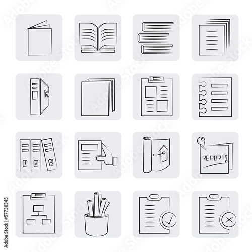 sketched document icons
