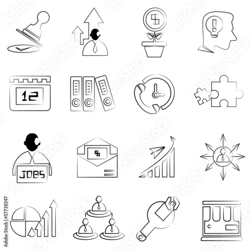 sketched business icons