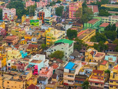 Colorful homes in crowded Indian city Trichy, Tamil Nadu