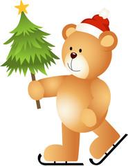 Teddy Bear Ice Skating Holding Christmas Tree