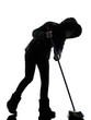 woman winter coat brooming silhouette