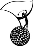 Female Golfer Silhouette and Golf Flag on a Ball