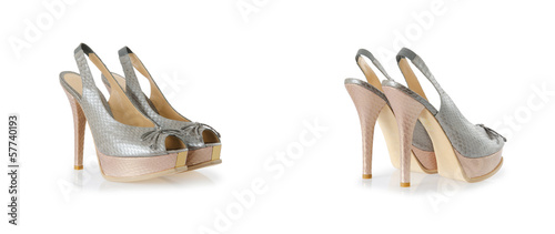 Composite photo of woman shoes isolated on white
